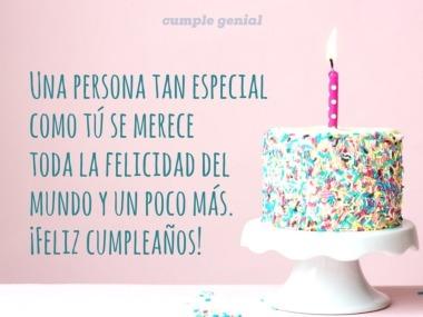 Feliz cumpleaños para una persona muy especial